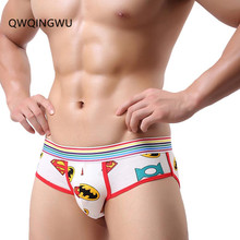 Buy Sexy Mens Underwear Cotton Briefs Shorts Soft Bulge Pouch Underpants Slip Homme Super Man Printing Men's Bikini Briefs Underwear
