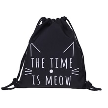 Who Cares meow 3D Printing Backpacks 2016 New Drawstring Bag Women's Mochila Escolar Game Casual Backpack for Teenagers