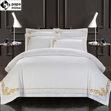 Papa&Mima 100% Cotton Bedlinen Embroidered Hotel Bedding Sets Queen King Size White Color