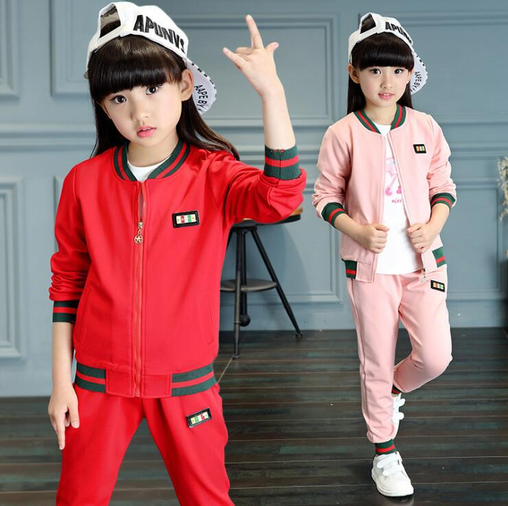 Autumn Fashion Girls Clothing Sets Zipper Childrens Wear Cotton Casual Baseball Tracksuits Disfraces Ninos Sports Suit<br><br>Aliexpress