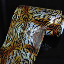 Wholesale Roll   Tiger Fur Fashion Lady Nail Art Glue Transfer Foil Tips Toes Decor Sticker GL12