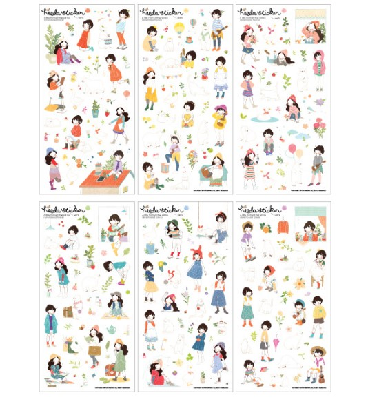 6 Sheets Pack Kawaii Diary Decoration Sweet Heeda Girls Ver 2 PVC Planner Stickers