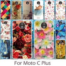 Akabeila Colorful Rose Peony Flower Patterns Cases Cover For Motorola Moto C Plus XT1723 XT1724 Phone Covers Silicon Shell
