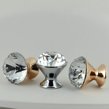 30mm Modern fashion clear glass crystal drawer tv table knobs pulls silver rose gold cupboard dresser dor handles knobs(China)