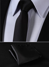 "TL201L5 Pure Black Solid 2.17"" 100%Silk Woven Slim Skinny Narrow Men Tie Necktie Handkerchief Pocket Square Suit Set(China)"