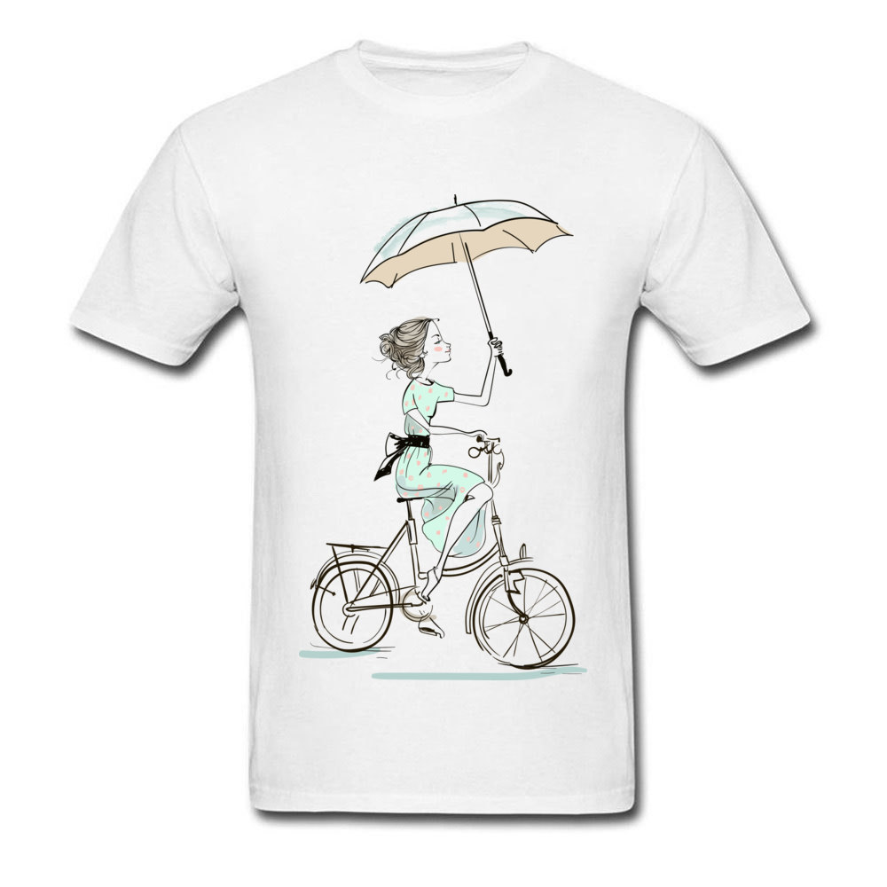 umbrellas girl riding a bicycle Fitted Men T Shirts Crewneck Short Sleeve All Cotton Tops & Tees Fitness Tight Tees umbrellas girl riding a bicycle white