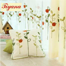 Ladybug pattern Linen Cotton Material Pastoral style Embroidered Tulle curtain Decorate for baby's room Free Shipping WP121 *30