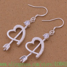 925 sterling silver earrings , 925 silver fashion jewelry , An arrow through a heart /eooanfva bpqakgxa AE494