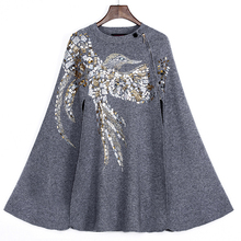 Women Jacket Sale High Quality 2017 New Runway Coat Women's Stand Collar Luxury Beading Sequin Elegant Knitting Batwing Sleeve