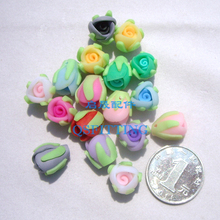 free shipping,DIY accessories,16*12mm polymer clay flower,mix color,Bud,earring accessory