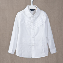 Girls White Blouse Long Sleeve Cotton School Girls Shirts Lace Student School Uniform 5 9 11 13 Years Spring Autumn Kids Clothes