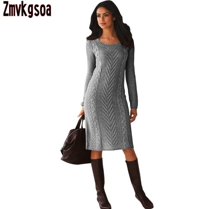 Zmvkgsoa Black Gray Womens Hand Knitted Sweater Dresses For Winter Casual Long Sleeve Women Vestido de festa For Girls V277720Îäåæäà è àêñåññóàðû<br><br>