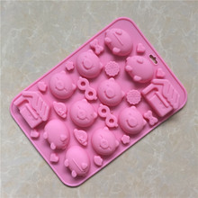 Multi expression pig house silica gel Chocolate Mold cartoon cute glasses silicone handmade soap mold