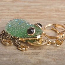Blucome Kawaii Green Blue Lucky Toad Keychains Women Present Chinese Wealth Frog Key Chian Moon Chaveiro Keyring Llavero Jewelry(China)