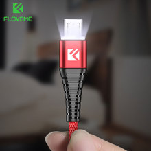 FLOVEME LED Micro USB Cable Samsung S7 S6 Edge 1m Lighting Data Charging USB Charger Cable Xiaomi Redmi 4X Note4 Adapter