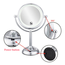 8 inch Desktop Makeup Mirror 2-Face Metal 5X Magnifying LED lamp Light Table Stand Cosmetic Mirror Beauty Mirror