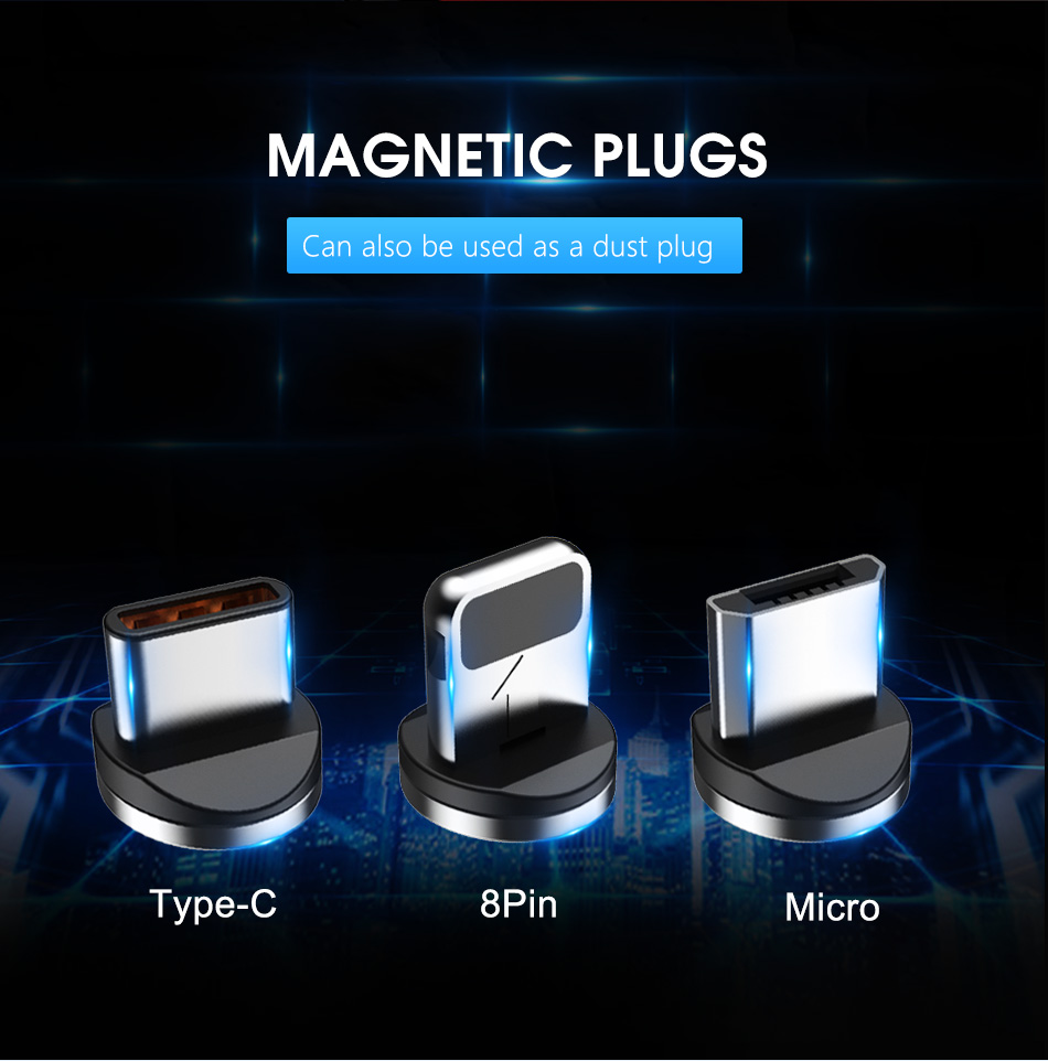 !ACCEZZ 2M Magnetic Cable Fast Charging For iPhone X XS MAX XR 8 7 Micro USB Type C Magnet Charge For Samsung Android Phone Cord (9)