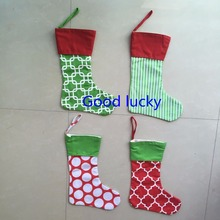 30pcs/lot Christmas decoration supplies mixed colors canvas monogram Christmas stocking wholesale personalized