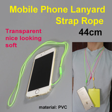 Mobile phone Strap translucency transparent PVC long neck lanyard rope for camera smart phone case 44cm keychain nice looking