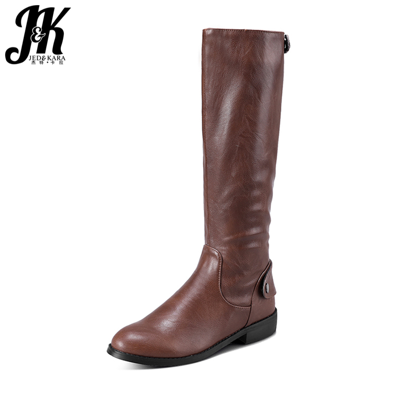 JK Button Decoration Knee-High Knight Boots Back Zip Winter Boots Comfortable Female Square Heel Women Shoes 2018 New Arrival<br>