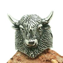 Mes New Arrival 316L Stainless Steel Punk Gothic Silver Cow Ring
