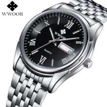Men Watches Luxury Brand Day Date Luminous Hour Clock Silver Steel Strap Casual Quartz Watch Men Sports Wrist Watch Male Relogio(China)