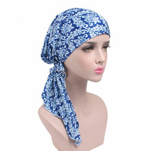 2017 New Women Hot Style Printing Turban Cap Chemotherapy Hat 9 Colors Bandana Headscarf Ladies Hair Accessories