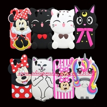 For Huawei Y6 II 2 Y6II Honor 5A Fashion 3D Silicon Minnie Cat Unicorn Kitty Cartoon Soft Phone Back Cover Case Skin 5.5 inch