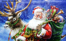 Diamond Painting Santa Claus Picture of Rhinestones Christmas Set for Embroidery Stitch of Moose Counted Cross Stitch Kits Drill(China)