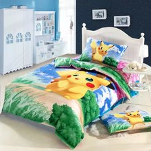 blue green Pikachu cartoon comforter bedding sets single twin size bed duvet covers bedclothes cotton Girls bedroom decor 3-5pc