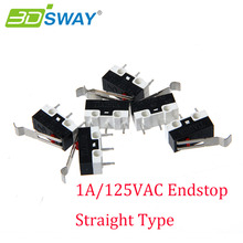 3DSWAY 3D Printer Accessories 50pcs/lot 1A/125VAC Endstop Straight Type Micro Switch Limit Switch Makerbot MK7/MK8