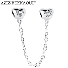 AZIZ BEKKAOUI Lovely Heart Stopper Beads Fit For Pandora Bracelet Safety Chain Charm Crystal Spacer for Jewelry Making Cute Gift