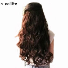 "S-noilite 18-28"" Curly 3/4 Full Head Clip in Hair Extensions Extension Black Brown Blonde Auburn Real Thick Syntetic 5 clips ins(China)"