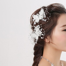 1 pcs Elegance Bride Jewelry Headdress Flower Butterfly Hair Clip Wedding Dress Accessories Jewelry Hot sale