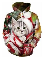 Christmas Crewneck Cat Printed Sweatshirt Long Sleeve Christmas Hat Hoodies Outfits Women/Men Jersey Tops