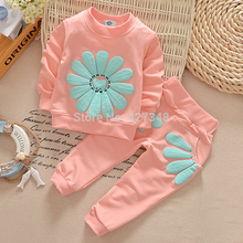 2017 New  spring autumn children clothing set baby girls sports suit sunflower casual 2pcs costume baby clothing set CCS263