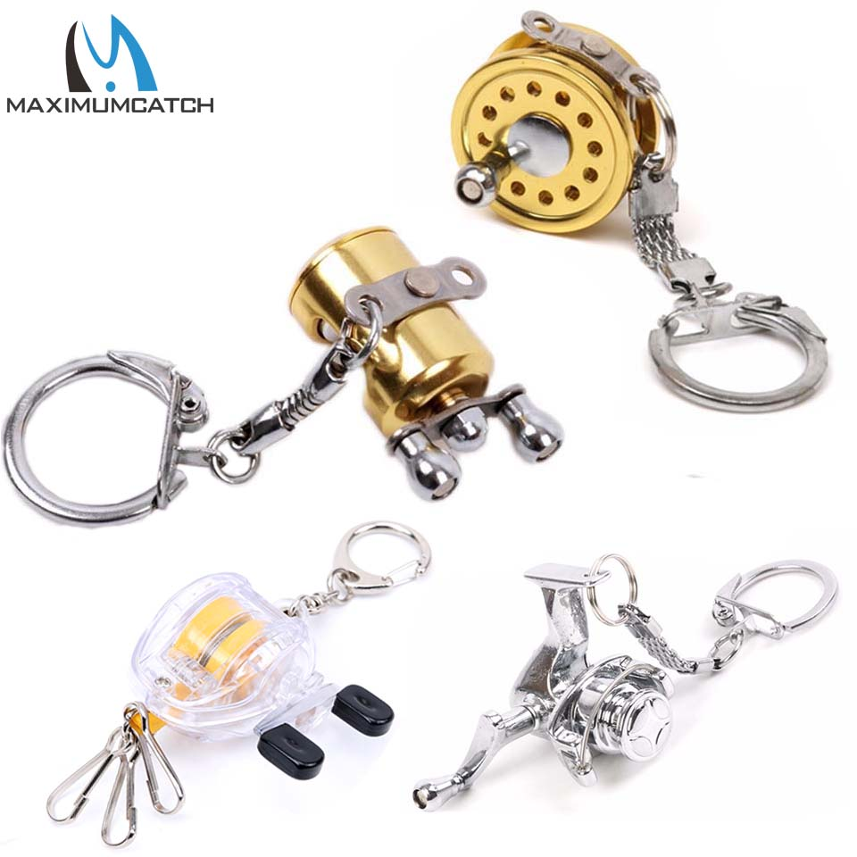 Maximumcatch 2pc Fishing Reel Keychain Scroll Retractor Key Chain With Key Ring Fishing Tackles