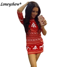 Red Dresses 2017 New Fashion Women Casual Christmas Deer Printed Floral Mini Dress Autumn Three Quarter O-neck Sexy Party Dress(China)