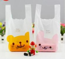 18*35cm Smile Market Shop Plastic Bag Custom Shopping Bags Packaging Vest Handle Gift Packing Birthday(China)