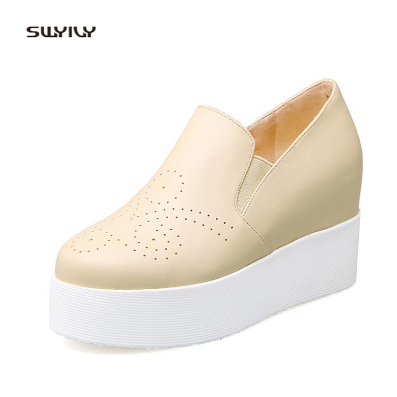 SWYIVY Woman Casual Shoes Platform Solid Color 2018 Autumn New Female Breathable Sneakes Shoes Wedge 42 College Student Sneakres