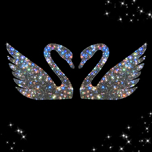 YIKA 2017 Vogue Swan Crystal Diamond Car Stickers Rhinestone Automobiles Interior Decoration for Car Styling(China)