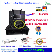 "9""TFT Video Snake Pipe Inspection Color Camera w/ 512Hz Transmitter Built In Stainless Steel Cam Head,DVR Control Box,20m Cable(China)"