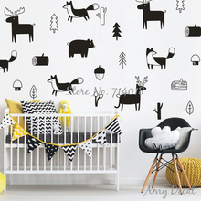 Woodland Nursery Wall Stickers, Cute Animals Tree Forest Vinyl Wall Sticker for Kids Room Bedroom Decor Christmas Wall Art A733(China)