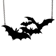 MJARTORIA Halloween Punk Rock  Cute Black Bat Pendant Necklace Gift Women Men Trendy Fashion Jewelry For Party 59cm