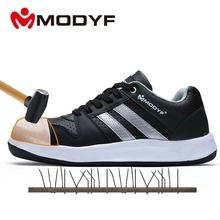 Modyf Men Safety Shoes Steel Toe Work Shoes Flats Casual Protective Footwear(China)