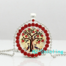 New Tree of Life Necklace Pomegranate Fruit Tree Crystal Pendant Nature Art Glass Jewelry Crystal Necklace