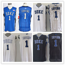 New Top Quality #1 Kyrie Irving Duke Jersey Blue Devils College Basketball Jerseys, Stitched Jersey Blue White Embroidery logo