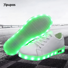 7ipupas China Solid white Kids shoes led glowing Casual Trainers All Sport Breathe Slipony Luminous sneakers Zapatillas Krasovki(China)