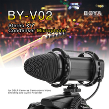 BOYA BY-V02 Stereo X/Y Condenser Microphone Professional Camera Interviews Microphone Wired Broadcast Microphone