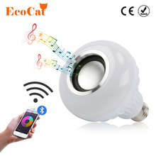 ECO Cat E27 LED Music light Smart Wireless Bluetooth Speaker Playing Dimmable LED RGB Music Bulb(China)
